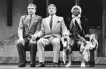 LA CAGE AUX FOLLES   music: Jerry Herman   book: Harvey Fierstein   based on the play by Jean Poiret   director: Arthur Laurents <br>,l-r: George Hearn (Albin), Denis Quilley (Georges), Donald Waugh (...