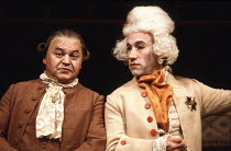 RESTORATION   written & directed by Edward Bond <br>,l-r: Wolfe Morris (Mr Hardache), Simon Callow (Lord Are) ,Royal Court Theatre, London SW1             21/07/1981,
