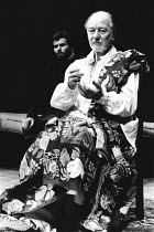 BINGO  by Edward Bond  design: Hayden Griffin  directors: Jane Howell & John Dove <br>~l-r: Oliver Cotton (Son), John Gielgud (Shakespeare)~Royal Court Theatre, London SW1  14/08/1974   ~(c) Donald Co...