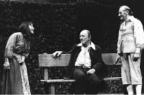 BINGO  by Edward Bond  design: Hayden Griffin  directors: Jane Howell & John Dove <br>~l-r: Yvonne Edgell (Young Woman), John Gielgud (Shakespeare), John Barrett (Old Man)~Royal Court Theatre, London...
