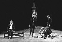 BINGO  by Edward Bond  design: Hayden Griffin  directors: Jane Howell & John Dove <br>~l-r: John Gielgud (Shakespeare),  (rear, on post) Yvonne Edgell (Young Woman), (centre) Oliver Cotton (Son), (sea...