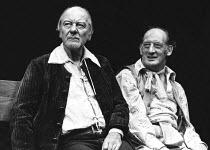 BINGO  by Edward Bond  design: Hayden Griffin  directors: Jane Howell & John Dove <br>,~l-r: John Gielgud (Shakespeare), John Barrett (Old Man)   ~Royal Court Theatre, London SW1  14/08/1974   ~(c) Do...