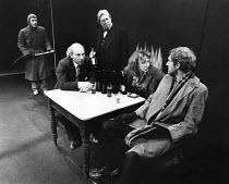 l-r: Leonard Preston (Wally), Patrick Stewart (Shakespeare), David Waller (Ben Jonson), Susan Dury (Joan), Duncan Preston (Jerome) in BINGO by Edward Bond at the Royal Shakespeare Company (RSC), The O...