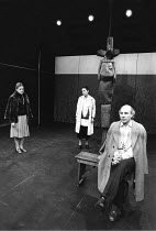 l-r: Meg Davies (Judith), Judith Harte (Old Woman), (on cross) Frances Viner (Young Girl), Patrick Stewart (as William Shakespeare) in BINGO by Edward Bond at the Royal Shakespeare Company (RSC), The...