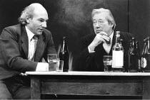 l-r: Patrick Stewart (Shakespeare), David Waller (Ben Jonson) in BINGO by Edward Bond at the Royal Shakespeare Company (RSC), The Other Place, Stratford-upon-Avon  10/11/1976 ~design: Chris Dyer  ligh...