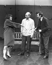 l-r: Frances Viner (Young Girl), Patrick Stewart (William Shakespeare),  Paul Brooke (William Combe) in BINGO by Edward Bond at the Royal Shakespeare Company (RSC), The Other Place, Stratford-upon-Avo...