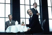 NO MAN^S LAND   by Harold Pinter   director: David Leveaux <br>,l-r: Paul Eddington (Spooner), Harold Pinter (Hirst), Gawn Grainger (Briggs)  ,Almeida Theatre production (1992) / Comedy Theatre, Londo...