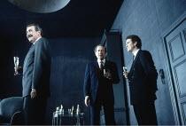 NO MAN^S LAND   by Harold Pinter   director: David Leveaux <br>,l-r: Gawn Grainger (Briggs), Harold Pinter (Hirst), Douglas Hodge (Foster),Almeida Theatre production (1992) / Comedy Theatre, London SW...