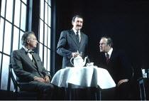 NO MAN^S LAND   by Harold Pinter   director: David Leveaux <br>,l-r: Paul Eddington (Spooner), Gawn Grainger (Briggs), Harold Pinter (Hirst)   ,Almeida Theatre production (1992) / Comedy Theatre, Lond...