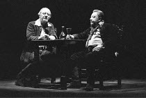 BINGO  by Edward Bond  design: Hayden Griffin  directors: Jane Howell & John Dove <br>,~l-r: John Gielgud (Shakespeare), Arthur Lowe (Ben Jonson) ~Royal Court Theatre, London SW1  14/08/1974   ~(c) Do...
