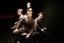 ANGRY YOUNG MAN   written & directed by Ben Woolf <br>,l-r: Hugh Skinner, (front) Hywel John, (rear) Gary Shelford, Alex Waldmann,Trafalgar Studios 2, London SW1                    14/01/2008  ,