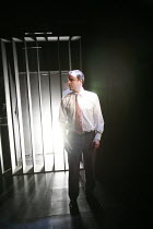 LAND OF THE DEAD   by Neil LaBute   director: Patricia Benecke <br>,moment of impact as plane hits tower: John Kirk (Man),Bush Theatre, London W12     17/01/2008                 ,