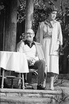 JOKING APART   by Alan Ayckbourn   ,set design: Alan Tagg   costumes: Lindy Hemming   director: Alan Ayckbourn <br>,Robert Austin (Sven), Jennifer Piercey (Olive),Globe Theatre, London W1     07/03/19...