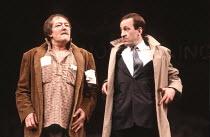 A CHORUS OF DISAPPROVAL   by Alan Ayckbourn   design (set): Alan Tagg   (costumes): Lindy Hemming   director: Alan Ayckbourn <br>,l-r: Michael Gambon (Dafydd Ap Llewellyn), Bob Peck (Guy Jones)   ,Oli...