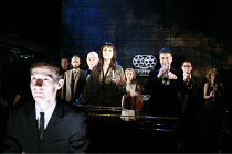 MERRILY WE ROLL ALONG   music & lyrics: Stephen Sondheim   book: George Furth   director: John Doyle <br>,front left: Sam Kenyon (Frank)   rear centre: Elizabeth Marsh (Mary)   ,The Watermill (West Be...