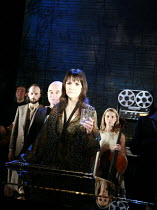 MERRILY WE ROLL ALONG   music & lyrics: Stephen Sondheim   book: George Furth   director: John Doyle <br>,front  centre: Elizabeth Marsh (Mary)   ,The Watermill (West Berkshire Playhouse) nr. Newbury...