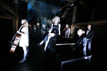MERRILY WE ROLL ALONG   music & lyrics: Stephen Sondheim   book: George Furth   director: John Doyle <br>,l-r: Joanna Hickman (Beth), Rebecca Jackson (Gussie), (rear) Thomas Padden (Charley), Sam Keny...