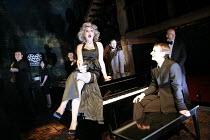 MERRILY WE ROLL ALONG   music & lyrics: Stephen Sondheim   book: George Furth   director: John Doyle <br>,from centre, l-r: Rebecca Jackson (Gussie), (rear) Thomas Padden (Charley), Sam Kenyon (Frank)...