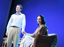 THE VERTICAL HOUR   by David Hare   design: Mike Britton   director: Jeremy Herrin <br>,Anton Lesser (Oliver Lucas), Indira Varma (Nadia Blye),Jerwood Theatre Downstairs / Royal Court Theatre (RC), Lo...