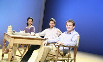 THE VERTICAL HOUR   by David Hare   design: Mike Britton   director: Jeremy Herrin <br>,l-r: Indira Varma (Nadia Blye), Tom Riley (Philip Lucas), Anton Lesser (Oliver Lucas),Jerwood Theatre Downstairs...
