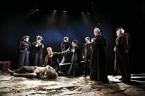 THE SEA   by Edward Bond   design: Paul Brown   director: Jonathan Kent <br>,centre: (kneeling) Russell Tovey (Hollarcut), (lying on ground) David Haig (Hatch)   front right: Eileen Atkins (Louise Raf...