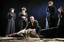 THE SEA   by Edward Bond   design: Paul Brown   director: Jonathan Kent <br>,centre: (kneeling) Russell Tovey (Hollarcut), (lying on ground) David Haig (Hatch) ,Theatre Royal Haymarket Company / Theat...