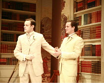 THE IMPORTANCE OF BEING EARNEST   by Oscar Wilde   design: William Dudley   director: Peter Gill <br>,new-found brothers - l-r: Harry Hadden-Paton (Jack Worthing/Earnest), William Ellis (Algernon Monc...