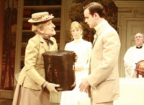 THE IMPORTANCE OF BEING EARNEST   by Oscar Wilde   design: William Dudley   director: Peter Gill <br>,l-r: Janet Henfry (Miss Prism, with the handbag), Daisy Haggard (Gwendolyn Fairfax), Harry Hadden-...