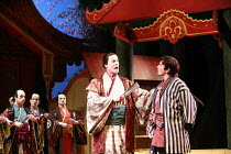 THE MIKADO   or   The Town of Titipu   music: Arthur Sullivan   lyrics: W S Gilbert   conductor: Martin Handley   director: Peter Mulloy <br>,l-r: Steven Page (Pish-Tush), Andrew Rees (Nanki-Poo) ,Car...