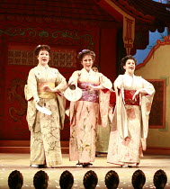 THE MIKADO   or   The Town of Titipu   ,music: Arthur Sullivan   lyrics: W S Gilbert   conductor: Martin Handley   director: Peter Mulloy <br>,Three Little Maids - l-r: Lesley Cox (Peep-Bo), Charlotte...