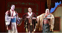 THE MIKADO   or   The Town of Titipu  music: Arthur Sullivan   lyrics: W S Gilbert   conductor: Martin Handley   director: Peter Mulloy <br>,l-r: Steven Page (Pish-Tush), Fenton Gray (Ko-Ko), Bruce Gr...