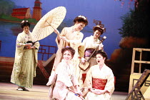 THE MIKADO   or   The Town of Titipu   music: Arthur Sullivan   lyrics: W S Gilbert   conductor: Martin Handley   director: Peter Mulloy <br>,Three Little Maids - front centre, clockwise from bottom l...
