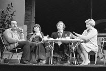 JUST BETWEEN OURSELVES   by Alan Ayckbourn   design: Patrick Robertson   director Alan Strachan <br>,l-r: Colin Blakely (Dennis), Stephanie Turner (Pam), Michael Gambon (Neil), Rosemary Leach (Vera),Q...
