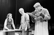 SUBURBAN_STRAINS   by Alan Ayckbourn & Paul Todd   music director: Paul Todd   director: Alan Ayckbourn ,l-r: Lavinia Bertram (Caroline), Graeme Eton, Robin Herford (OAP)   ,Stephen Joseph Theatre, Sc...