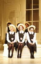 THE MIKADO   by Gilbert & Sullivan   conductor: David Parry   ,set design: Stefanos Lazaridis   costume design: Sue Blane   original director: Jonathan Miller <br>,Three Little Maids - l-r: Fiona Canf...