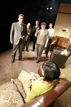 THE HOMECOMING   by Harold Pinter   ,design: Jonathan Fensom   lighting: Neil Austin   director: Michael Attenborough <br>,foreground: Jenny Jules (Ruth)   rear, l-r: l-r: Neil Dudgeon (Teddy), Anthon...