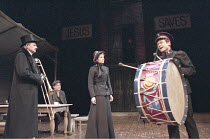 MAJOR BARBARA   by George Bernard Shaw   set design: John Gunter   costumes: Lynn Avery   director: Peter Hall <br>,l-r: Peter Bowles (Andrew Undershaft), Michael Pennington (Peter Shirley), Jemma Red...