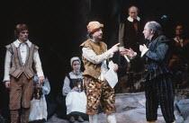 TWELFTH NIGHT   by Shakespeare   design: Robin Don   director: John Caird <br>,front, l-r:Nigel Cooke (Sebastian), Richard O^Callaghan (Feste), Emrys James (Malvolio),Royal Shakespeare Company (RSC) /...
