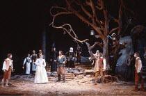 TWELFTH NIGHT   by Shakespeare   design: Robin Don   director: John Caird <br>,front l-r: Zoe Wanamaker (Viola), Joanne Pearce (Olivia), Graham Sinclair (Antonio), Miles Anderson (Orsino),  Nigel Cook...