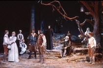 TWELFTH NIGHT   by Shakespeare   design: Robin Don   director: John Caird <br>,front, l-r: Nigel Cooke (Sebastian), Joanne Pearce (Olivia), Graham Sinclair (Antonio), Miles Anderson (Orsino),  Zoe Wan...