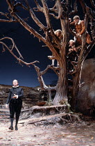 TWELFTH NIGHT   by Shakespeare   design: Robin Don   director: John Caird ,left: Emrys James (Malvolio)   in tree, l-r: Daniel Massey (Sir Andrew Aguecheek), ,Stanley Page (Fabian), Stephen Moore (Sir...