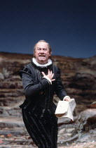 TWELFTH NIGHT   by Shakespeare   design: Robin Don   director: John Caird ,Emrys James (Malvolio)   ,Royal Shakespeare Company (RSC) / Barbican Theatre, London EC2   22/08/1984      ,