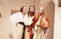 TWELFTH NIGHT   by Shakespeare   design: Kit Surrey   costumes: Deirdre Clancy   director: Bill Alexander <br>,l-r: Jim Hooper (Fabian), Roger Allam (Sir Toby Belch), David Bradley (Sir Andrew Agueche...