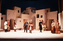 TWELFTH NIGHT   by Shakespeare   design: Kit Surrey   costumes: Deirdre Clancy   director: Bill Alexander <br>,centre: Bruce Alexander (Feste), Donald Sumpter (Duke Orsino), Harriet Walter (Viola),Roy...