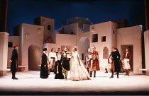 TWELFTH NIGHT   by Shakespeare   design: Kit Surrey   costumes: Deirdre Clancy   director: Bill Alexander <br>,from centre, l-r: Antony Sher (Malvolio), Deborah Findlay (Olivia), Bruce Alexander (Fest...