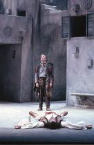 TWELFTH NIGHT   by Shakespeare   ,set design: Kit Surrey   costumes: Deirdre Clancy   director: Bill Alexander <br>,rear: Bruce Alexander (Feste) lying on stage: Roger Allam (Sir Toby Belch),Royal Sha...