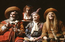 TWELFTH NIGHT   by Shakespeare   design: Timothy O^Brien   director: Peter Hall <br>,l-r: Dinsdale Landen (Sir Toby Belch), xxx (???), David Ryall (Feste), Martin Jarvis (Sir Andrew Aguecheek)   ,Play...