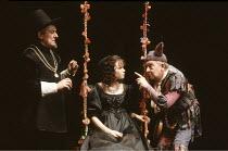 TWELFTH NIGHT   by Shakespeare   design: Timothy O^Brien   director: Peter Hall <br>,l-r: Eric Porter (Malvolio), Sara Crowe (Olivia), David Ryall (Feste)   ,Playhouse Theatre, London WC2...