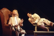 TWELFTH NIGHT   by Shakespeare   set design: John Gunter   costumes: Deirdre Clancy   director: Ian Judge <br>,l-r: Bille Brown (Sir Andrew Aguecheek), Derek Griffiths (Feste),Royal Shakespeare Compan...