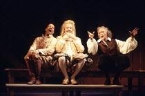 TWELFTH NIGHT   by Shakespeare   set design: John Gunter   costumes: Deirdre Clancy   director: Ian Judge <br>,l-r: Derek Griffiths (Feste), Bille Brown (Sir Andrew Aguecheek), Tony Britton (Sir Toby...